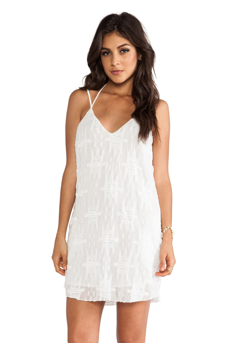 Charles Henry Slip Dress in White Embroidery