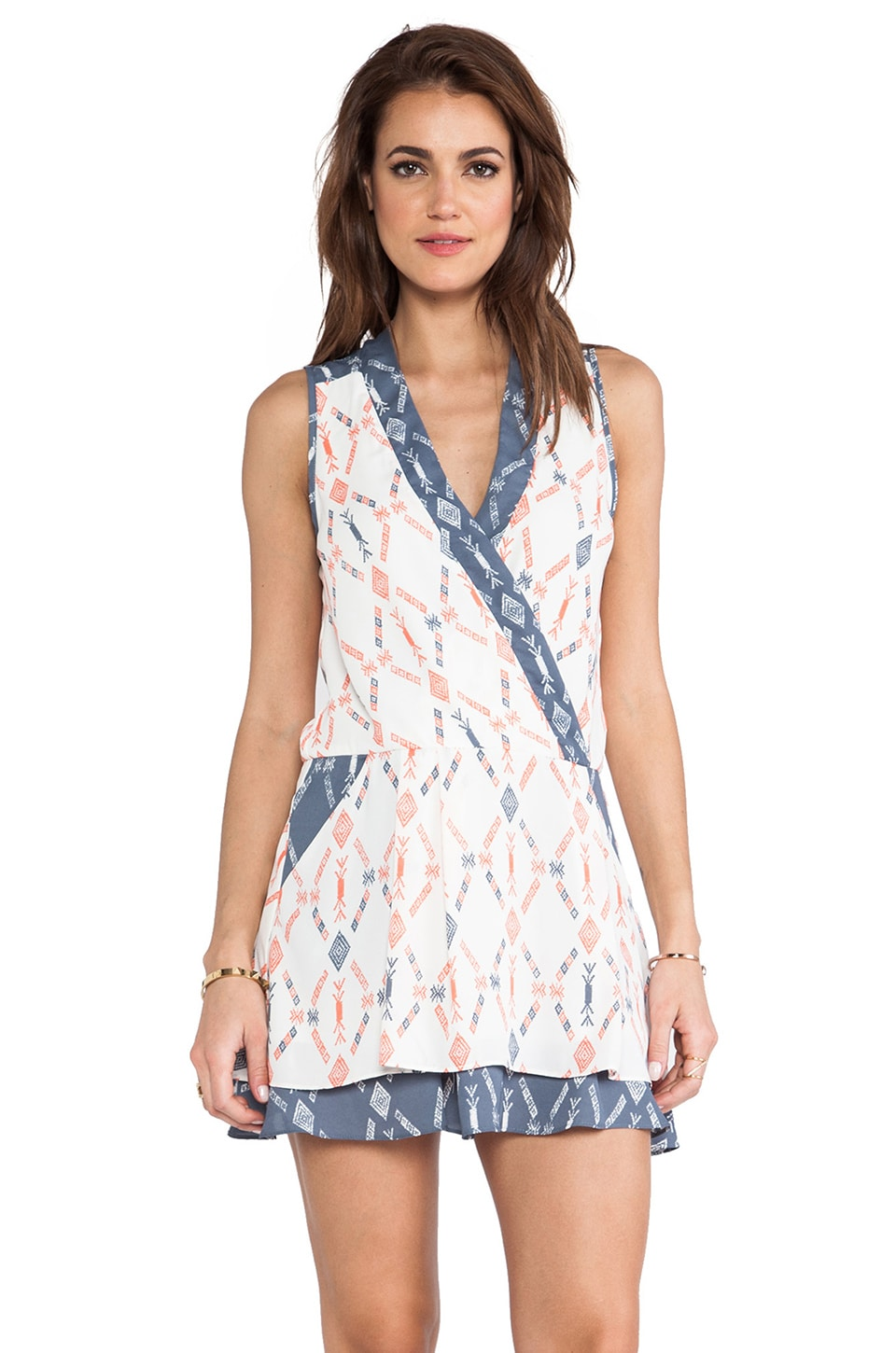 Charles Henry Mock Wrap Dress in Ivory Aztec