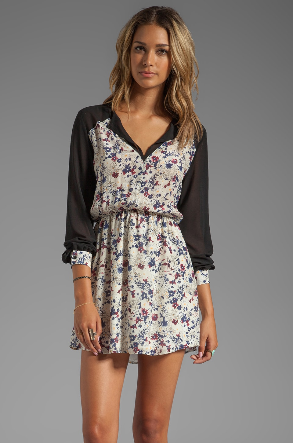 Charles Henry Contrast Sleeve Mini Dress in Floral