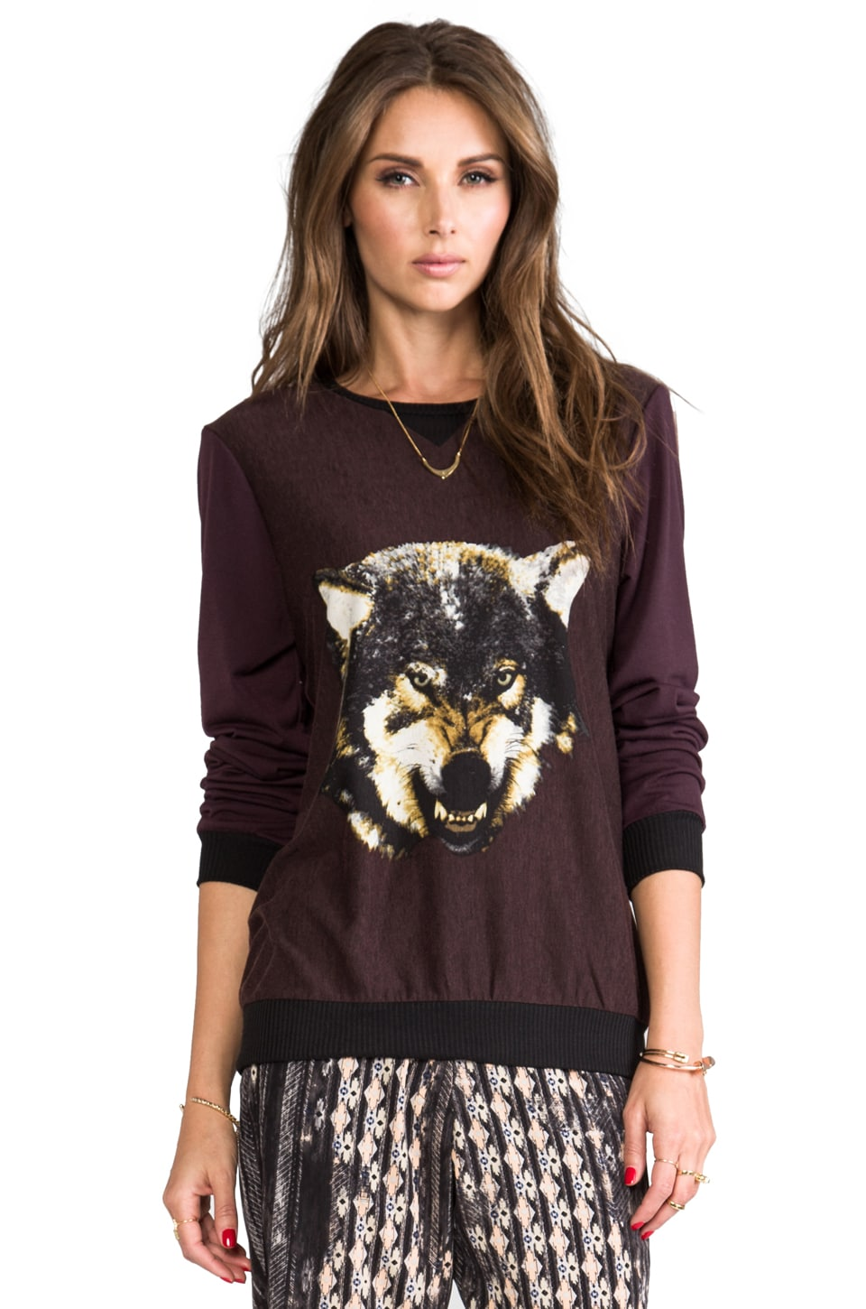 Charles Henry Burgundy Pull Over w/ Wolf Front in Burgundy