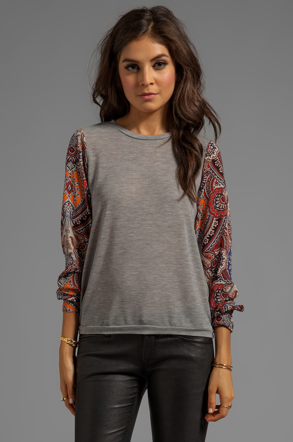 Charles Henry Knit Pullover with Chiffon Sleeves in Paisley