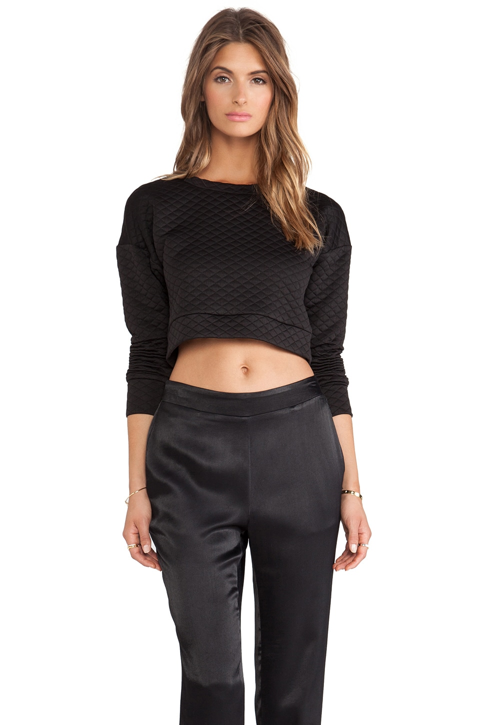 Charles Henry Quilted Cropped Pullover in Black