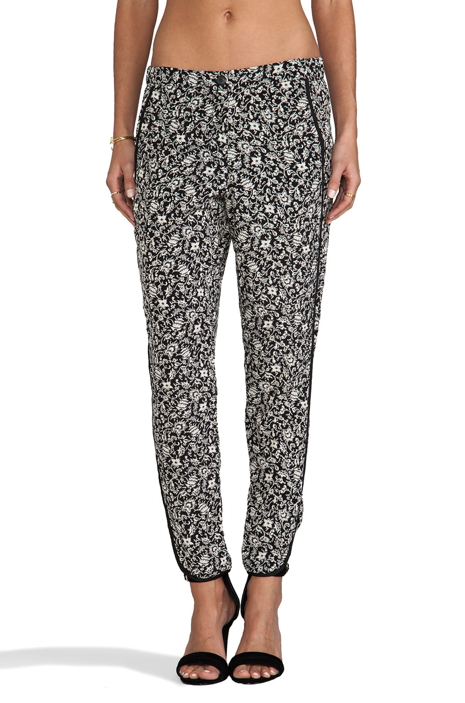 Charles Henry Tuxedo Stripe Pant in Black/White Floral
