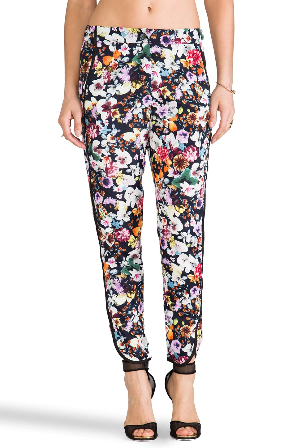 Charles Henry Tuxedo Stripe Pant in Black Digital Floral