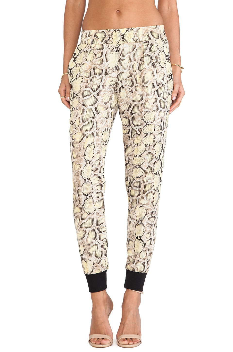 Charles Henry Track Pant in Yellow Python