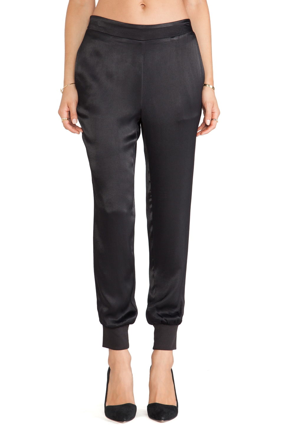 Charles Henry Satin Track Pant in Black