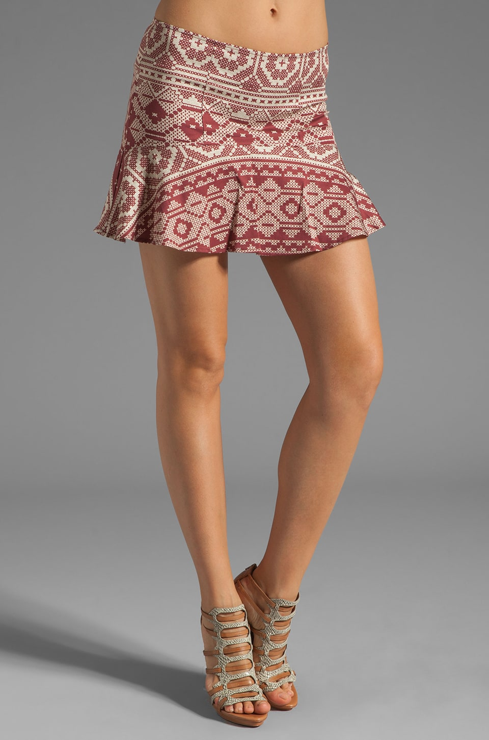 Charles Henry Top Stitch Mini Skirt in Red Patchwork