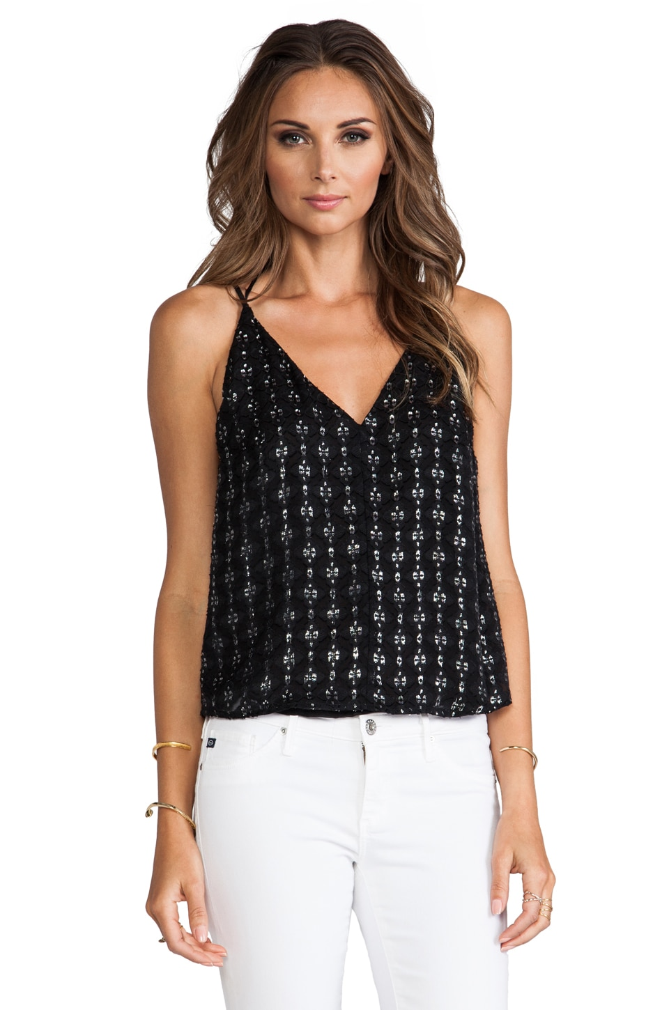 Charles Henry Strappy Top in Black Lurex