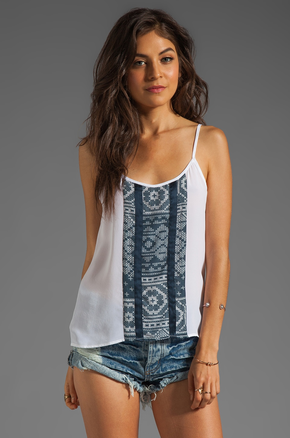 Charles Henry Contrast Panel Cami in Blue Patchwork