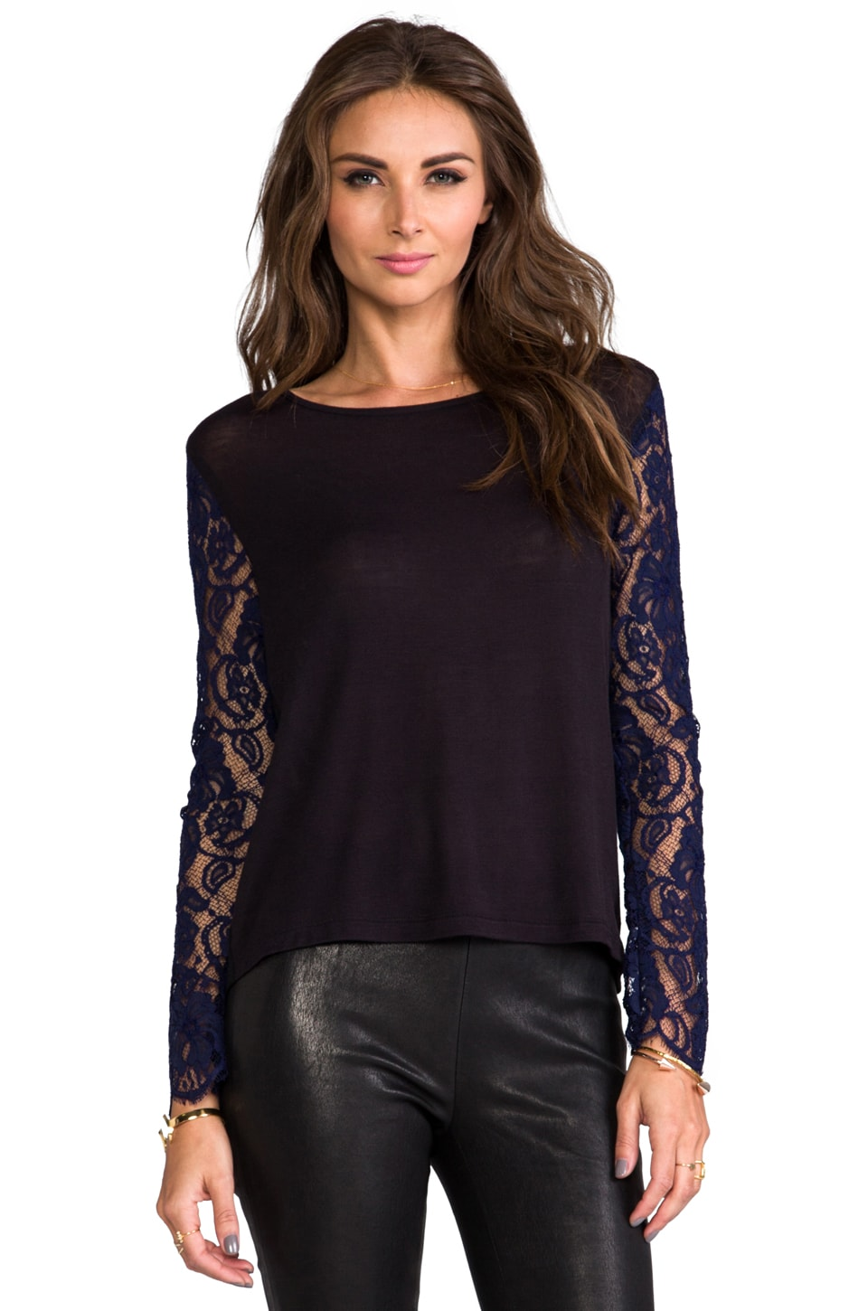 Charles Henry Lace Sleeve Pullover in Black Lace