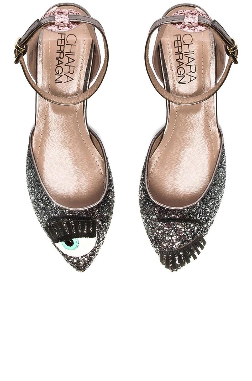 Chiara Ferragni Wink Flat in Pink & Silver