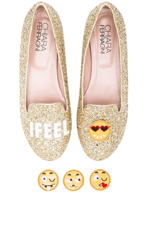 Chiara Ferragni I Feel Flat in Gold Glitter