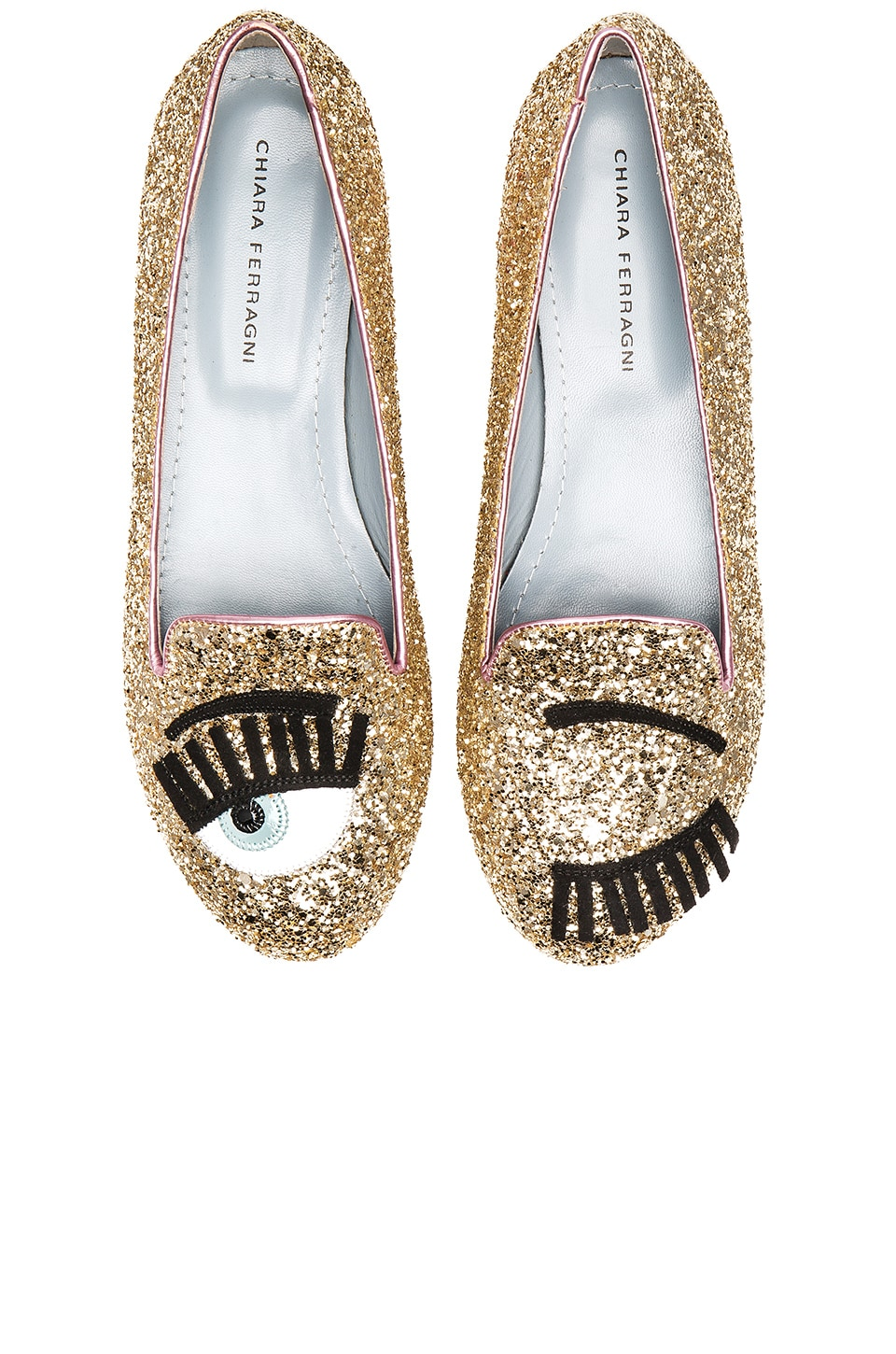 Chiara Ferragni Flirting Sleeper Loafer in Gold & Pink