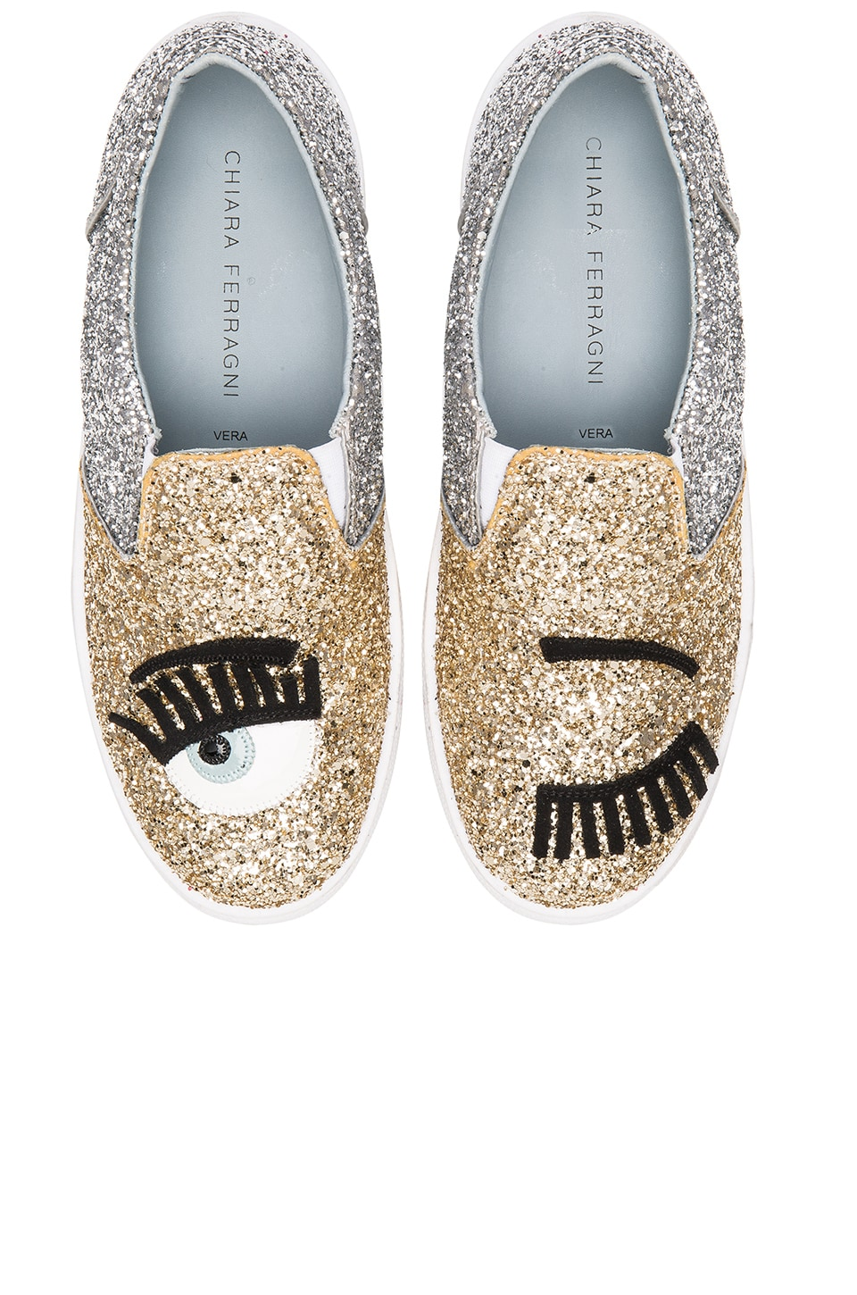 Chiara Ferragni Two Tone Flirting Slip On Sneaker in Gold & Silver
