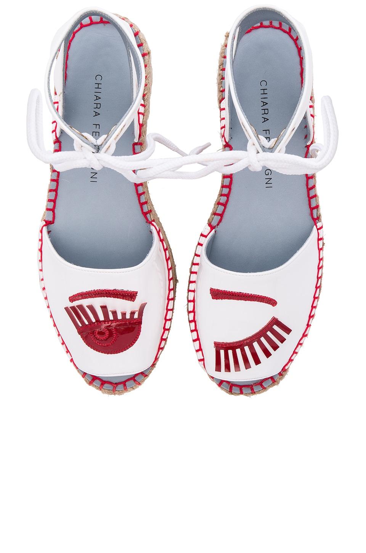 Chiara Ferragni Ankle Strap Espadrille in White & Red