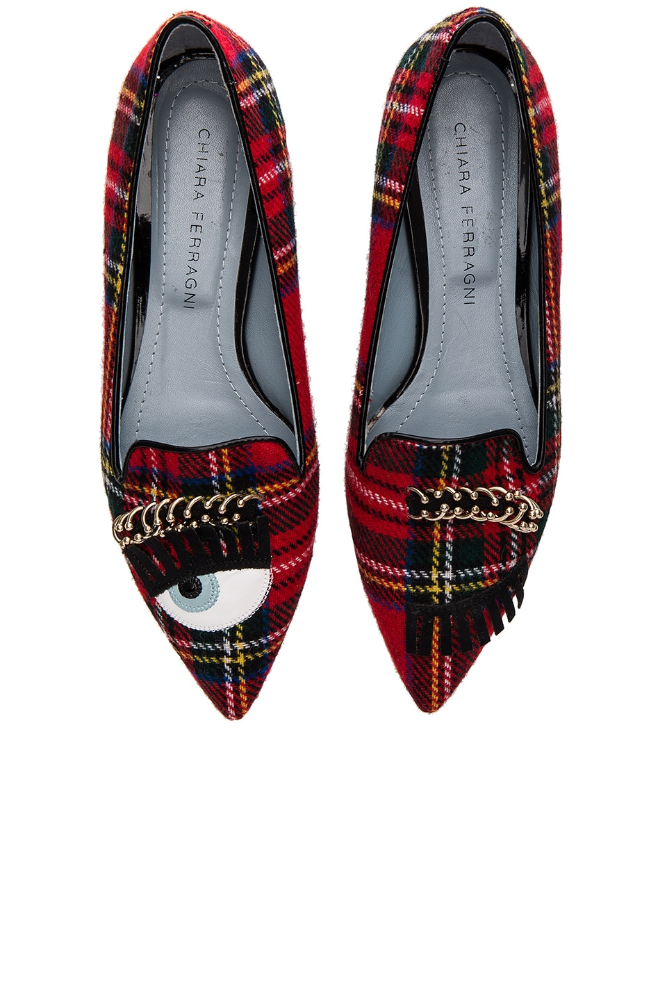 Chiara Ferragni Piercing Flirting Pointed Toe Flat in Scottish