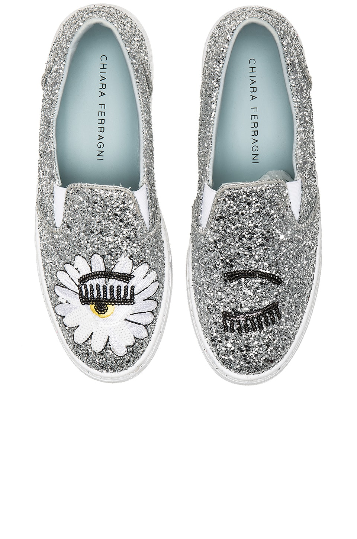Chiara Ferragni Glitter Slip On in Silver
