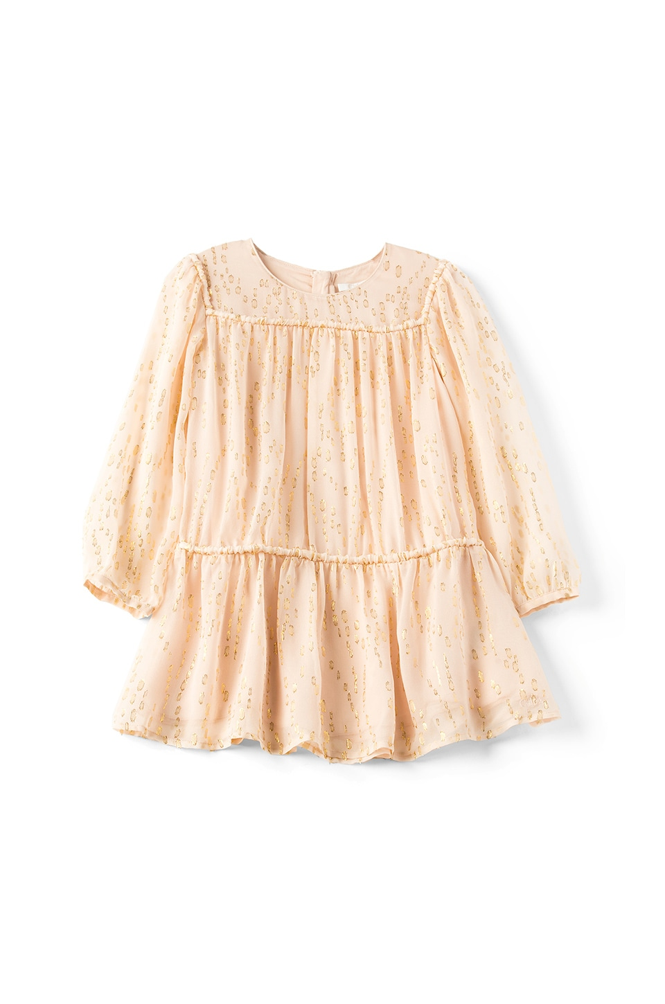 Chloe Kids Couture Silk Gold Splatter Dress in Rose Pale