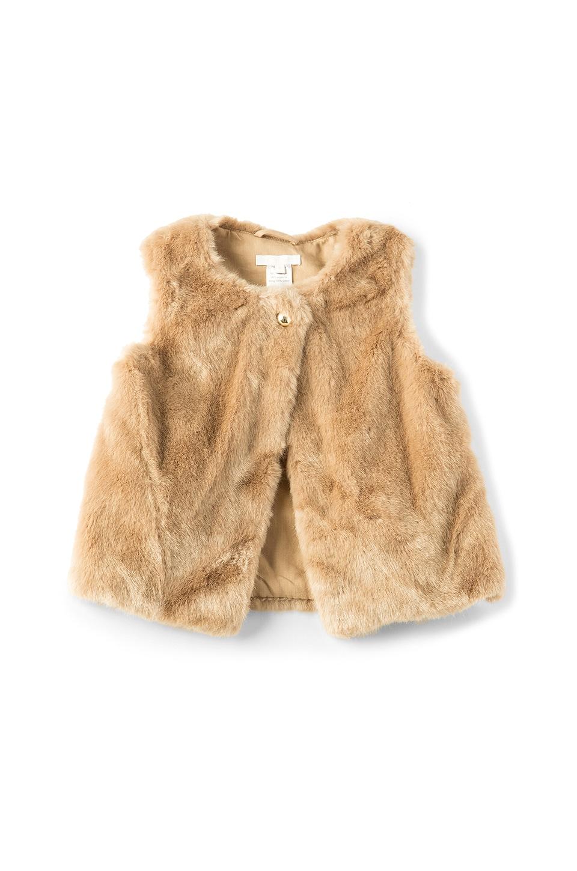 Chloe Kids Faux Fur Vest in Beige Rose