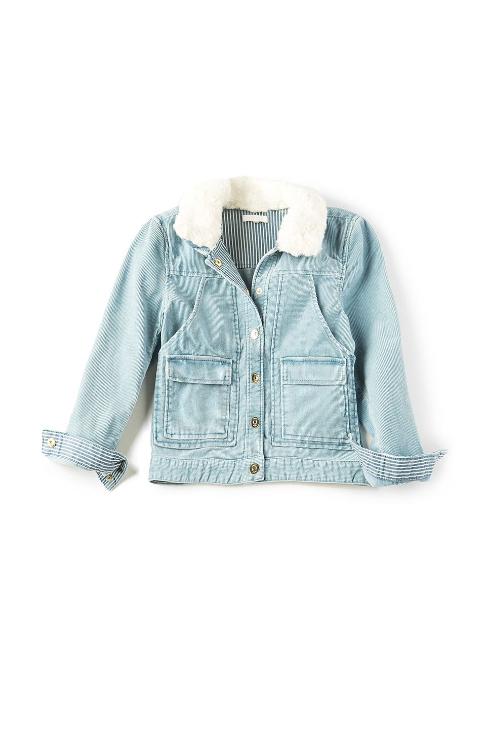 Chloe Kids Stonewashed Faux Fur Collar Jacket in Riviere