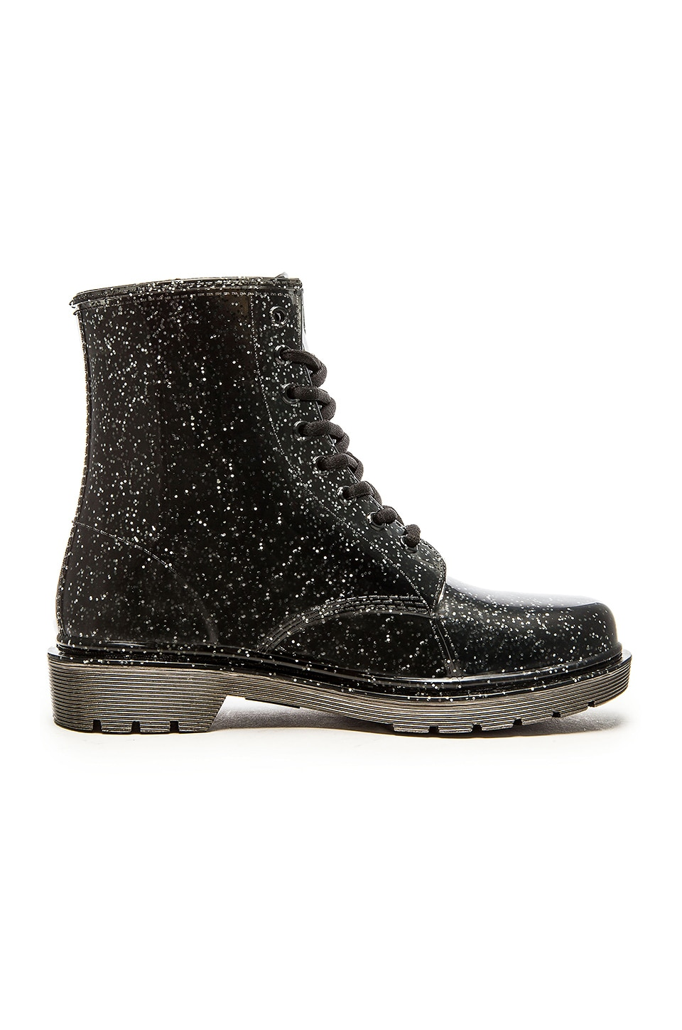 Circus by Sam Edelman Quinn Rain Boot in Translucent Black & Silver Glitter