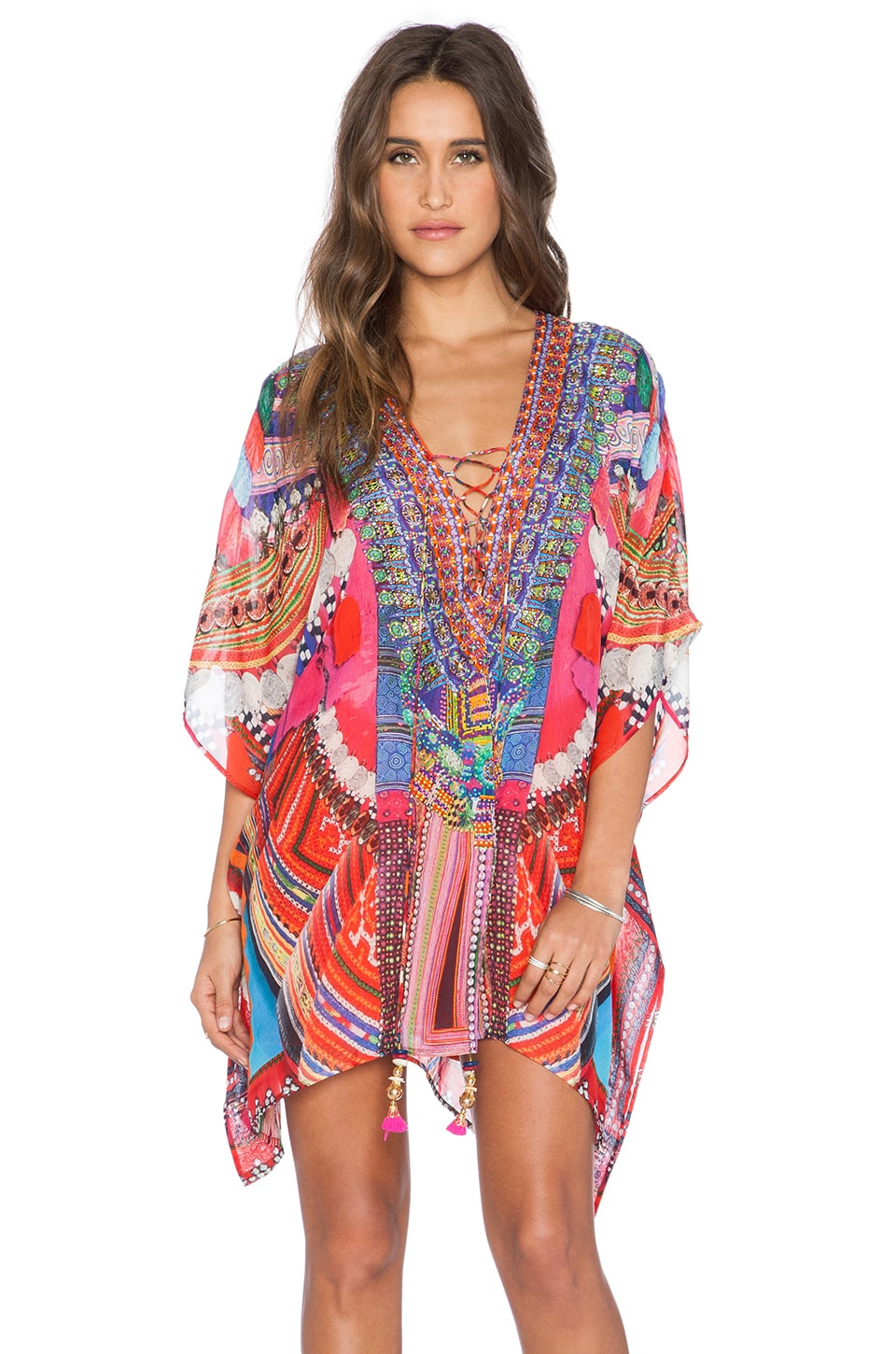 Camilla Short Lace Up Kaftan in Dance of the Flower H'mong