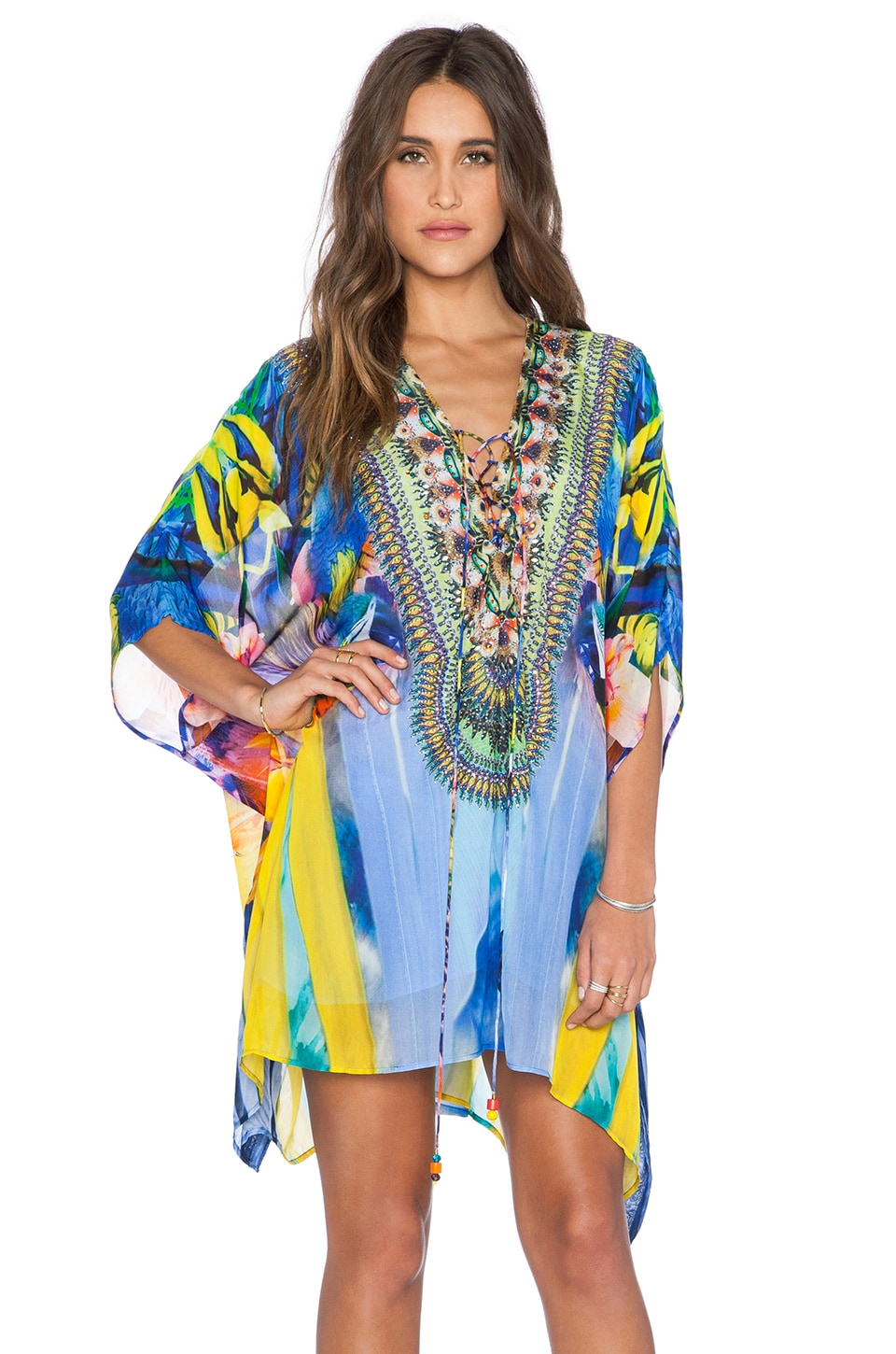 Camilla Short Lace Up Kaftan in The Rites of Tropicana
