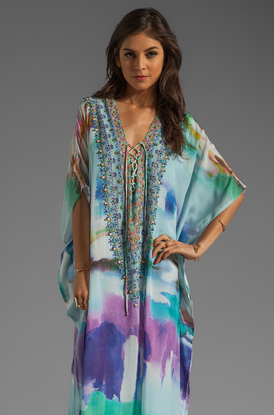 Camilla Long Lace Up Kaftan in Craving A Patch of Green