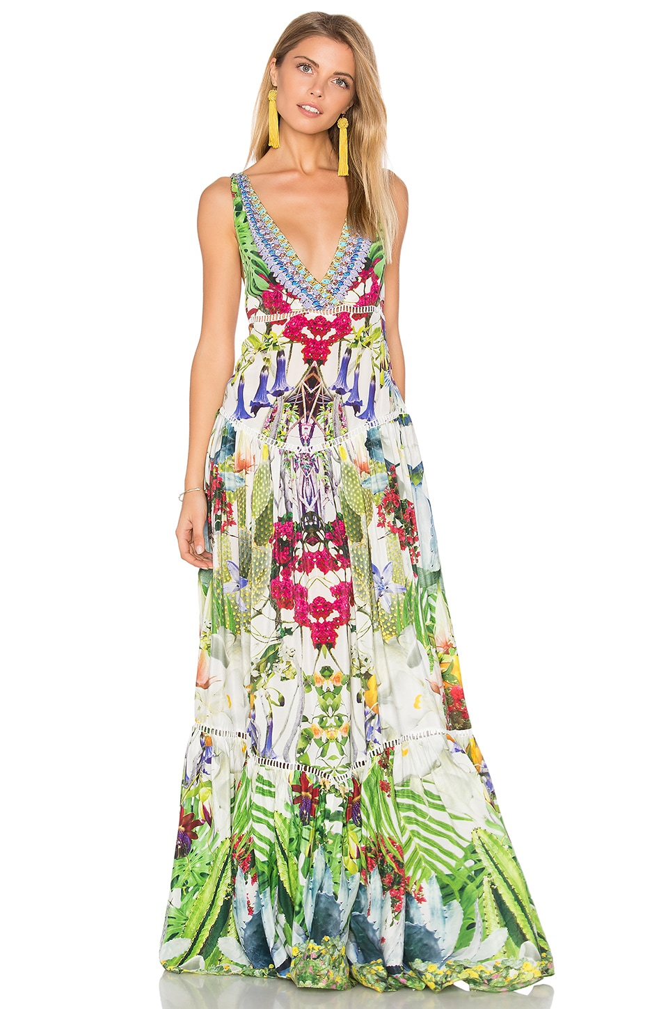 Camilla Tiered Gathered Dress in Exotic Hypnotic