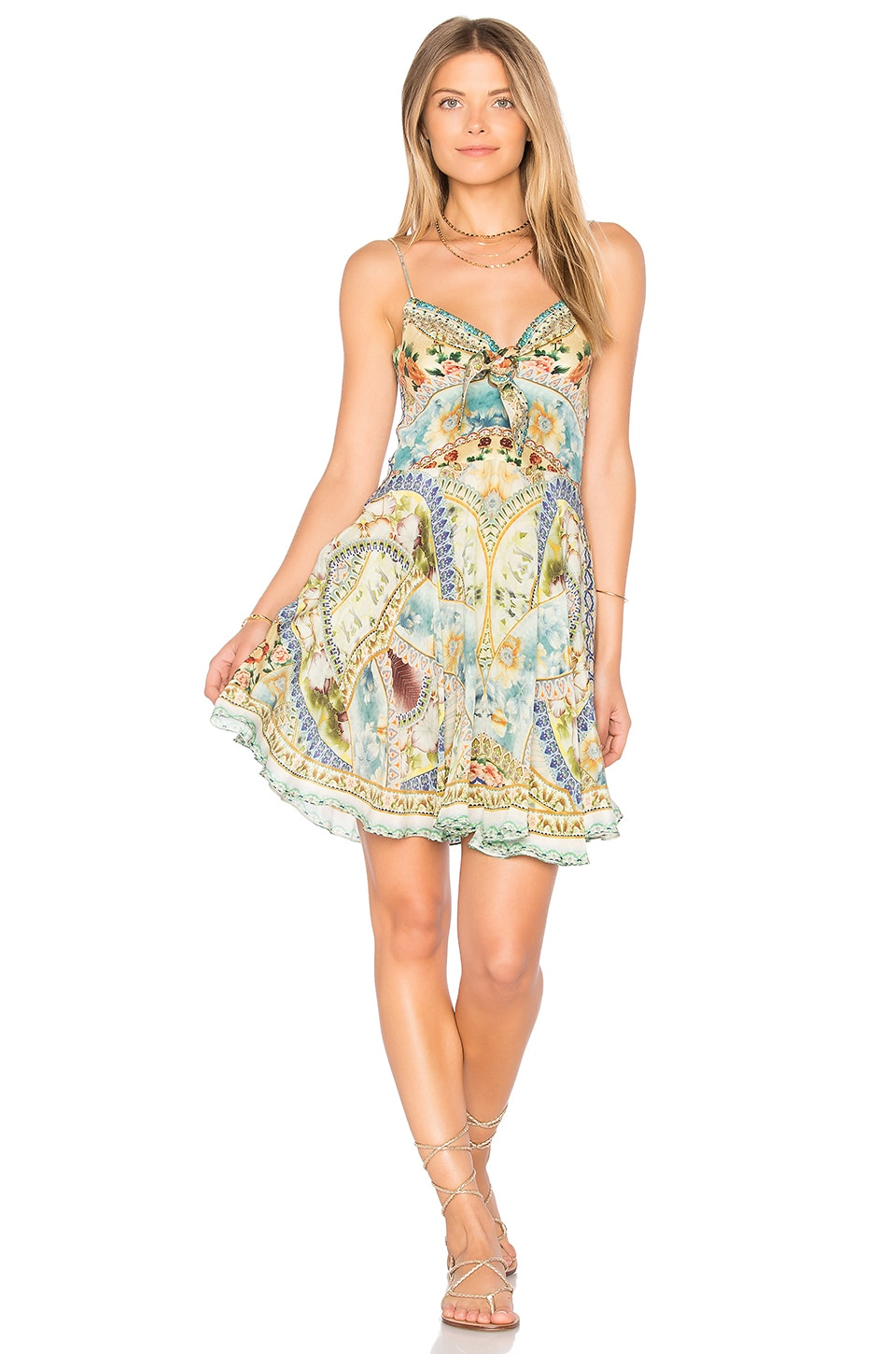 95e30c5036 Camilla Tie Front Mini Dress in Sign Of Peace