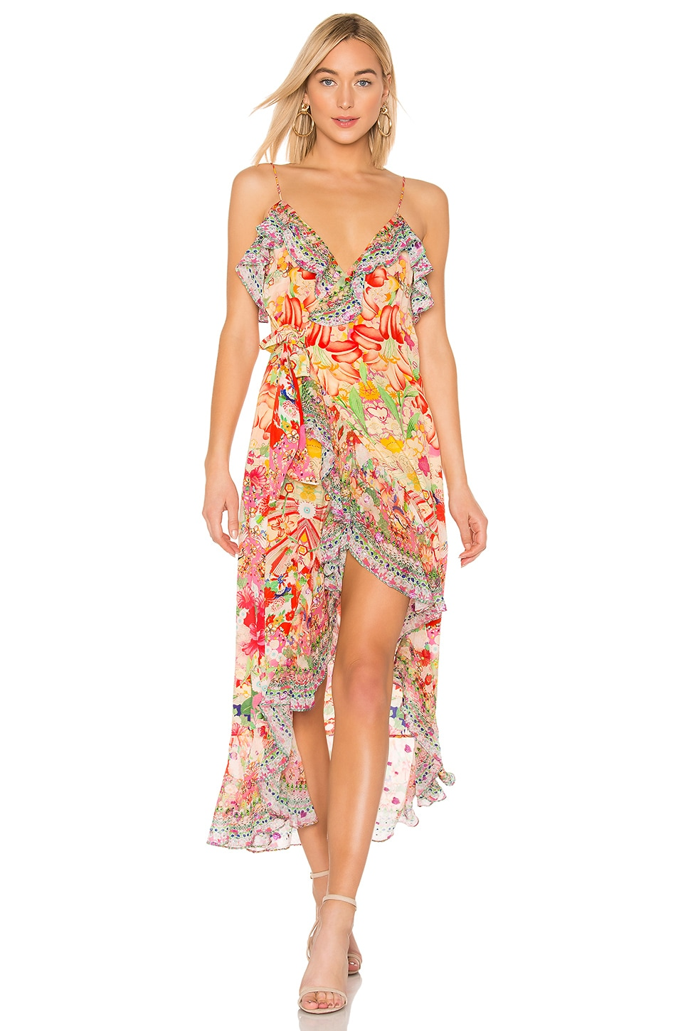 Camilla Long Wrap Dress in Kimono Kisses