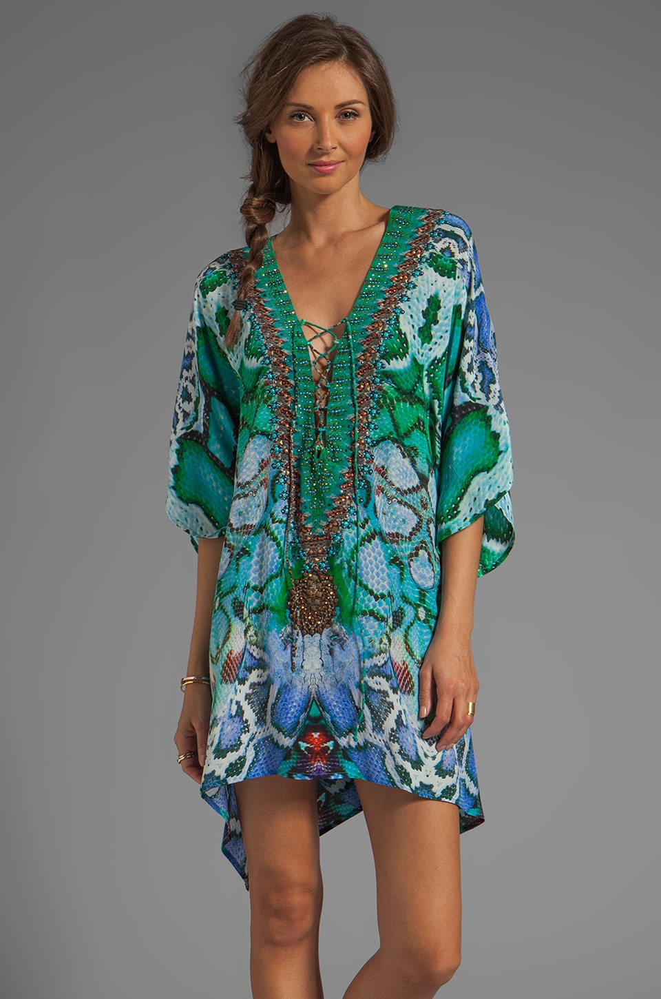 Camilla Los Pozas Short Lace Up Kaftan in A Land of Wonder