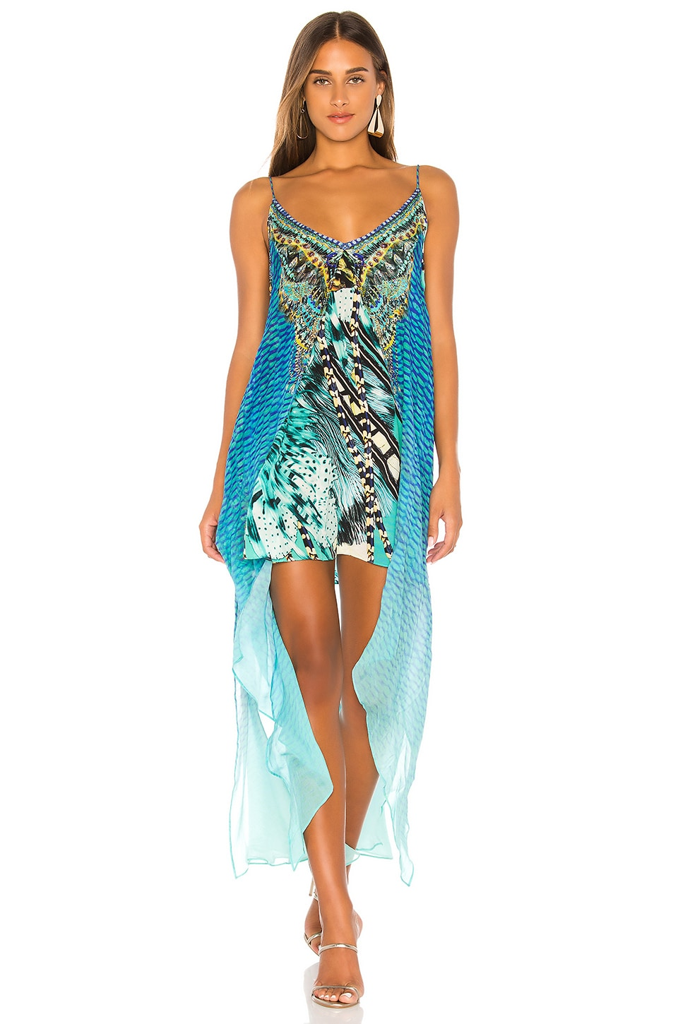 Camilla Flared Mini With Sheer Overlay in Marine Queen