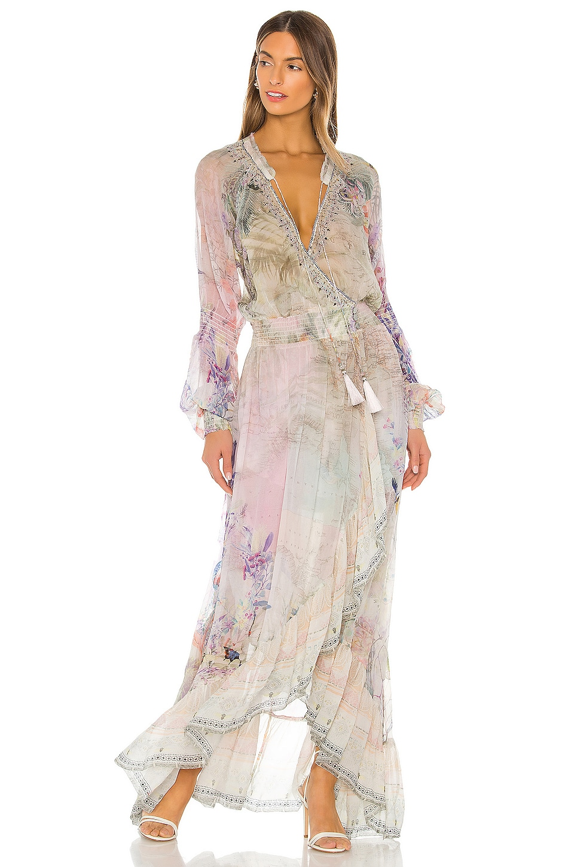 Camilla Blouson Sleeve Wrap Dress in Mermaid Milla