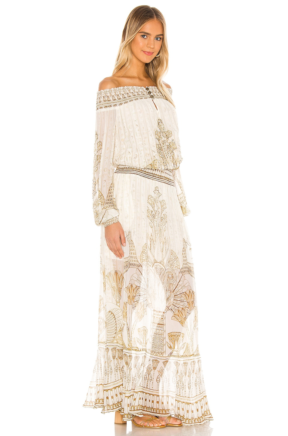 Off Shoulder Shirred Dress, view 2, click to view large image.