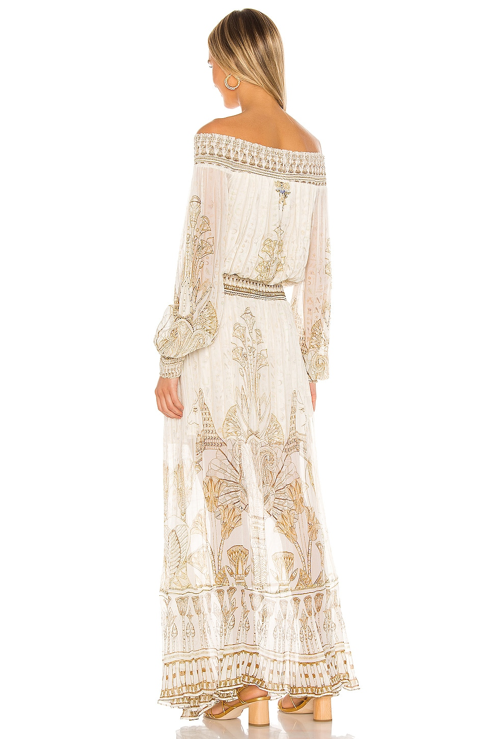 Off Shoulder Shirred Dress, view 3, click to view large image.