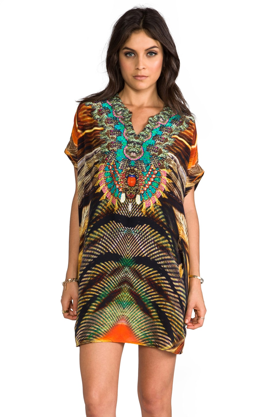 Camilla Animism V-neck Balloon Kaftan in Tigri