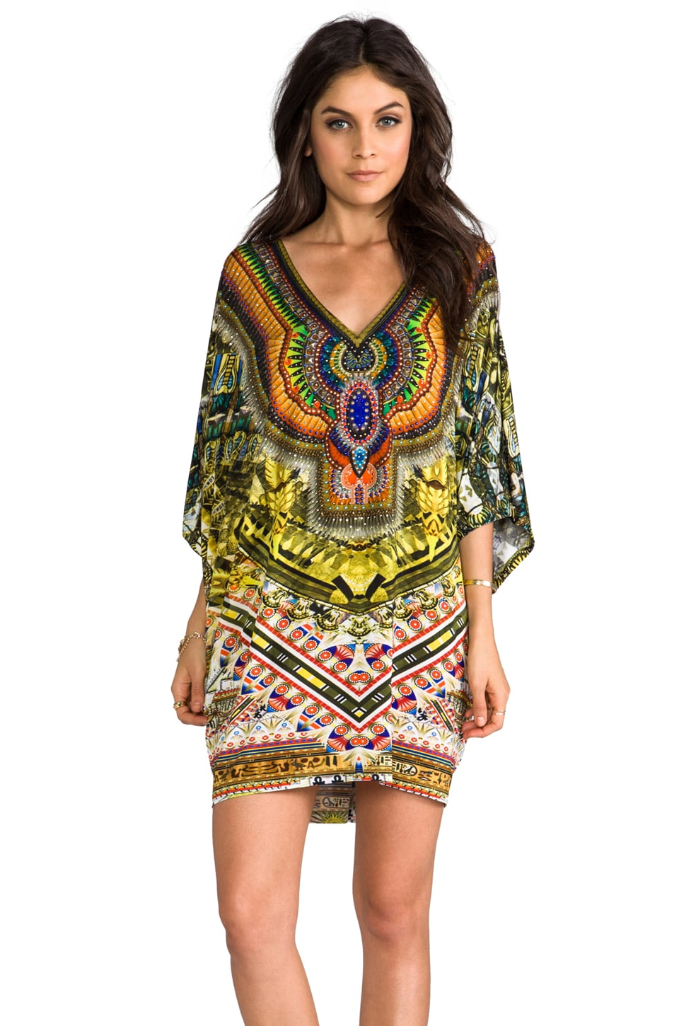 Camilla Sands of Egypt Bat Sleeve Dress in Eye of Horus