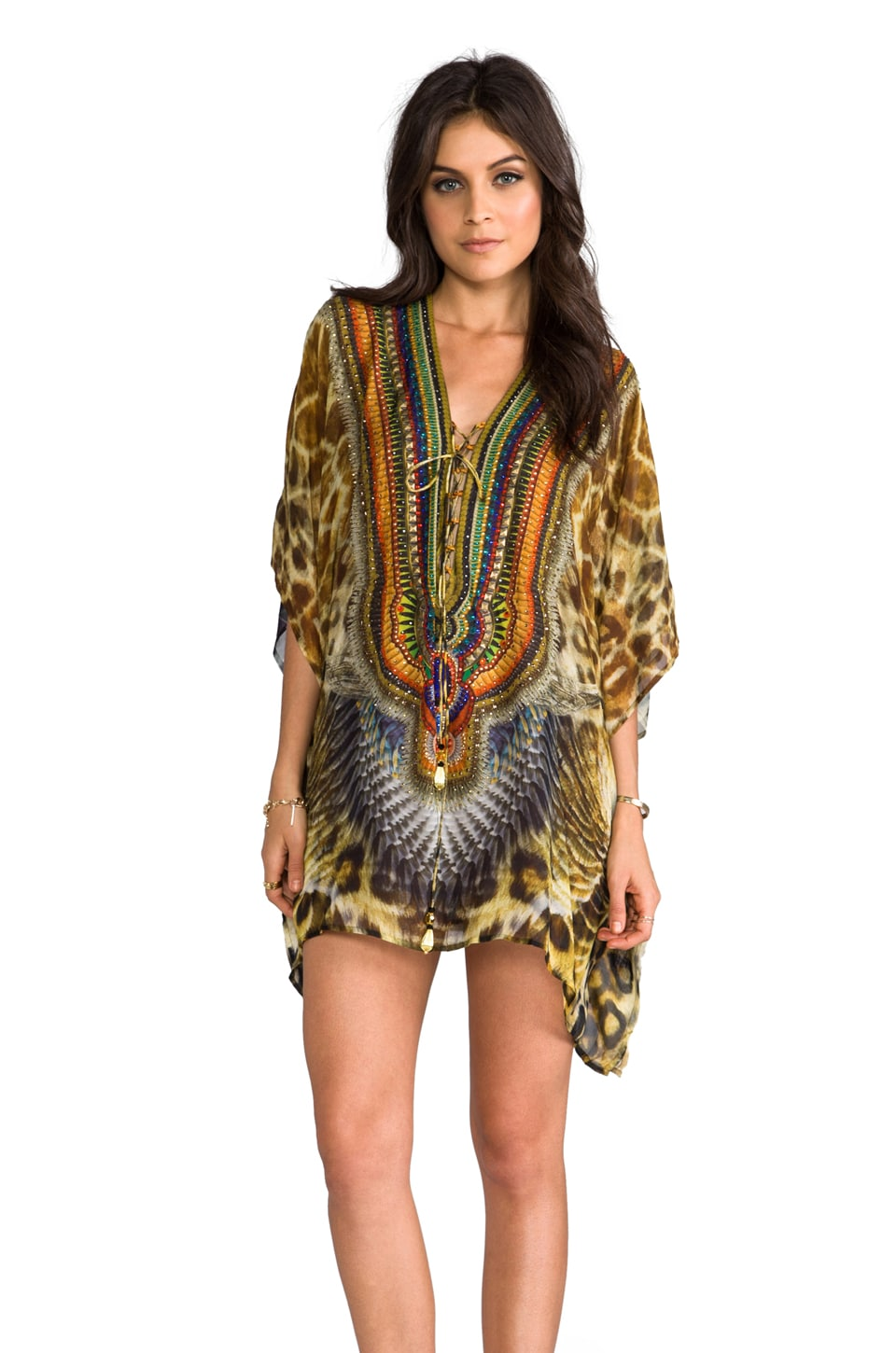 Camilla At Talons Length Short Lace Up Kaftan in Huntress