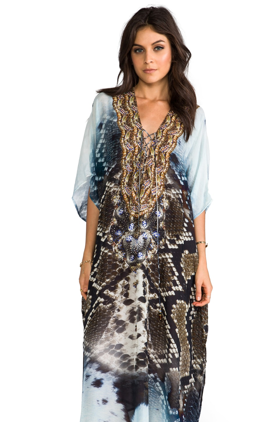 Camilla At Talons Length Long Lace Up Kaftan in Prey
