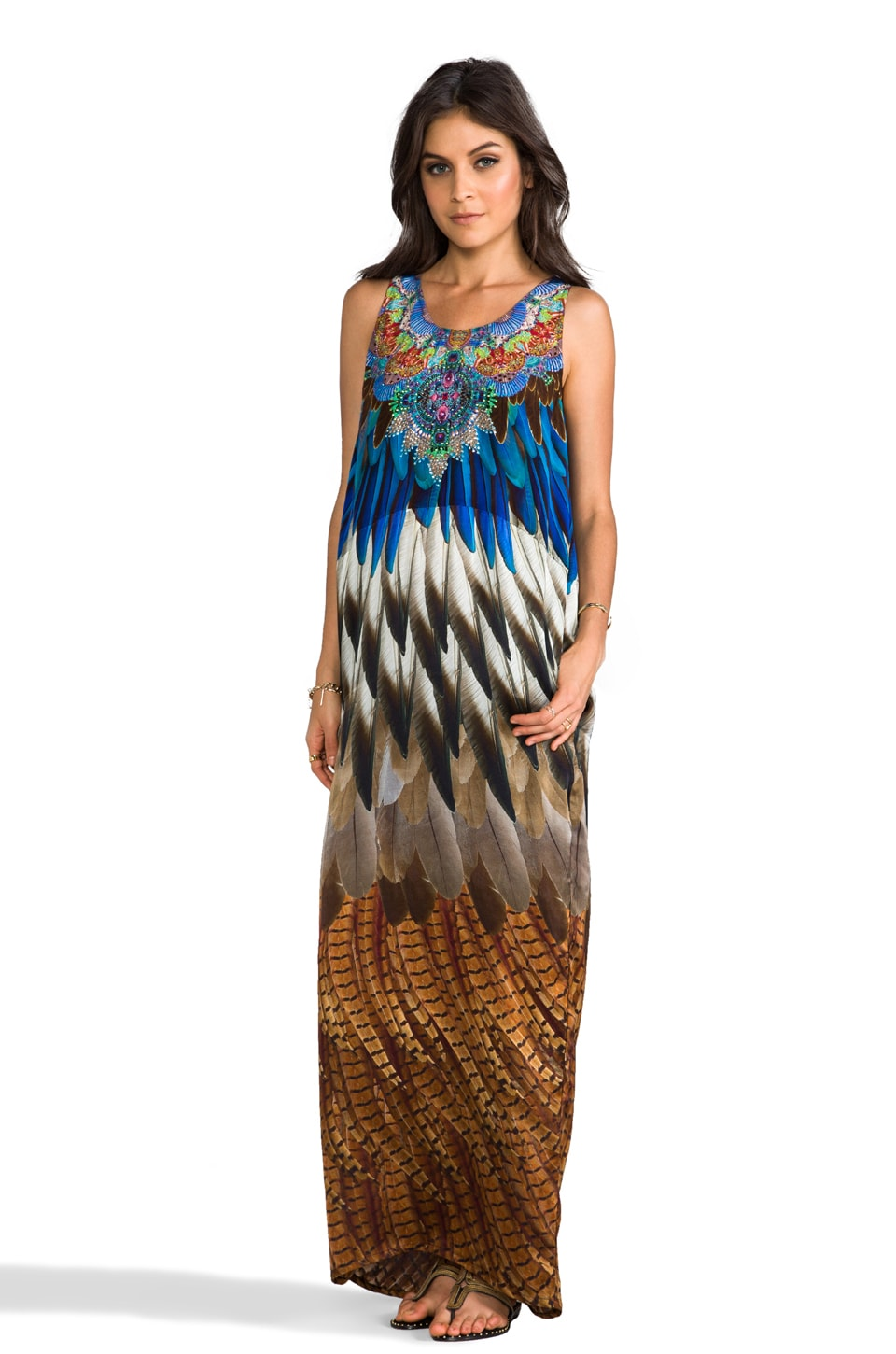 Camilla At Talons Length Long Column Dress in Thunderbird
