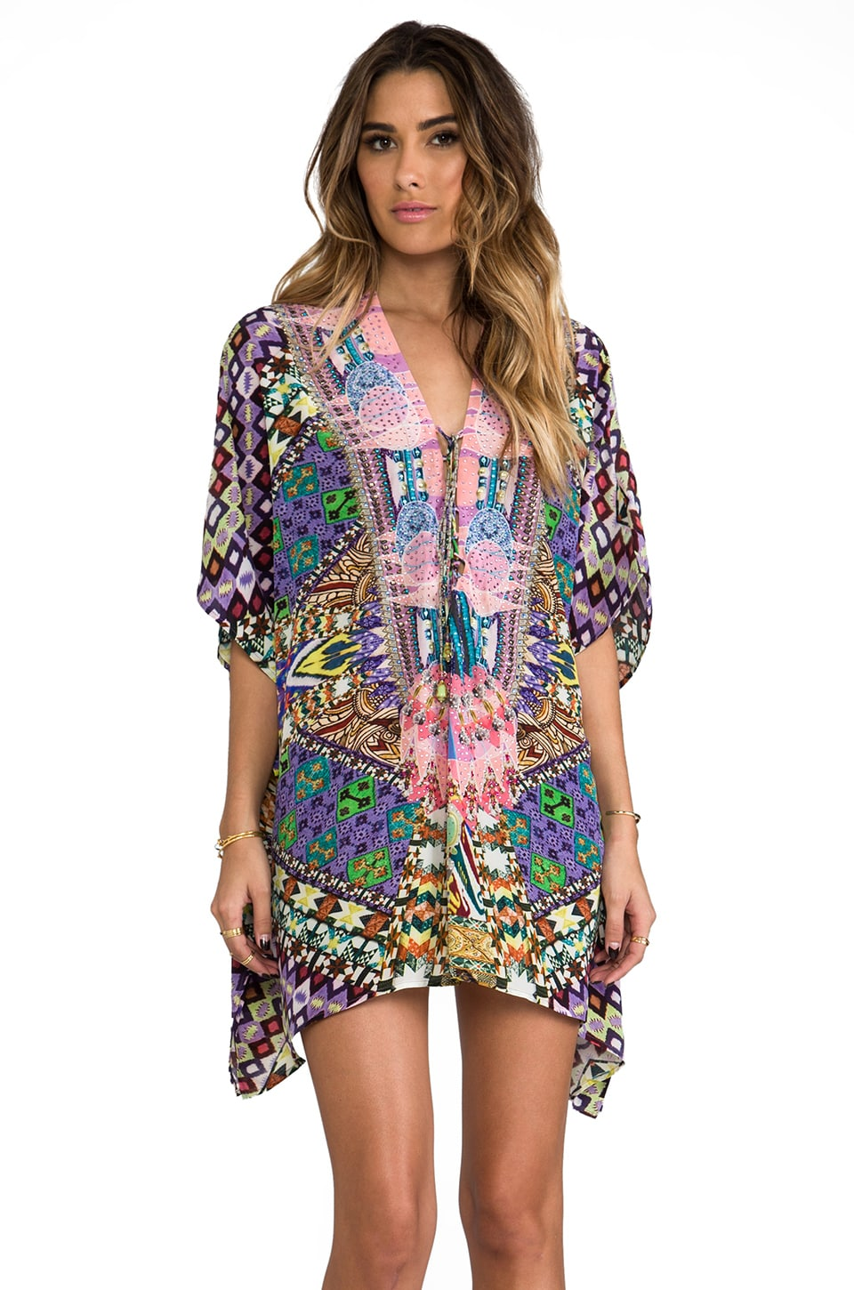Camilla Mycenaean Short Lace Up Kaftan in Eris