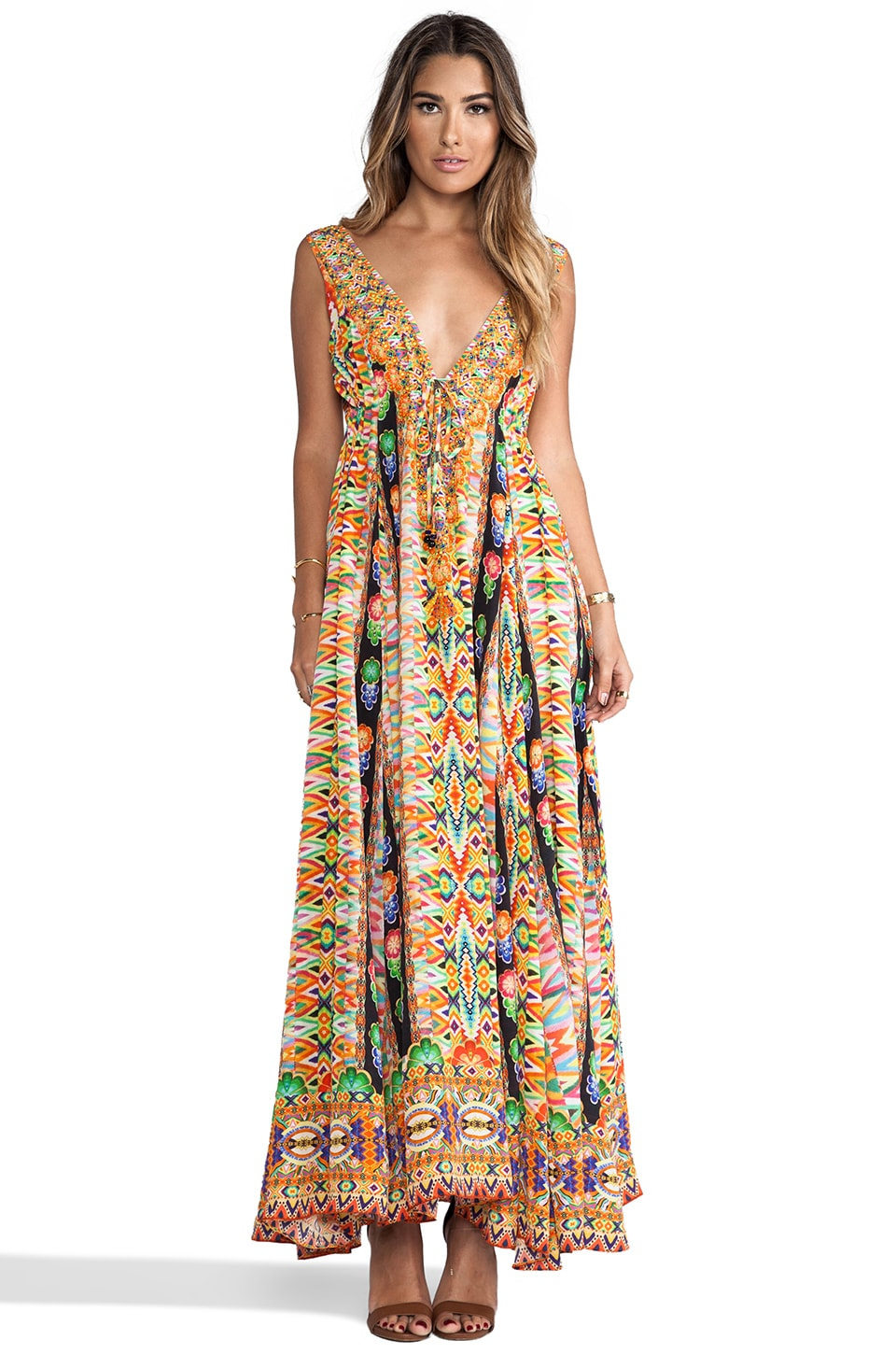 Camilla V-Neck Drawstring Dress in Multi