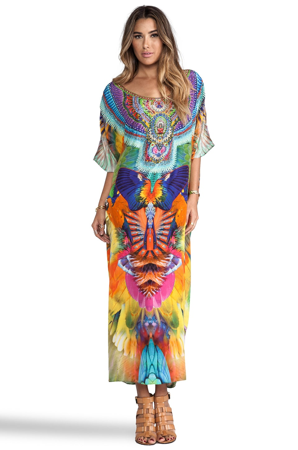 Camilla Round Neck Kaftan in Multi