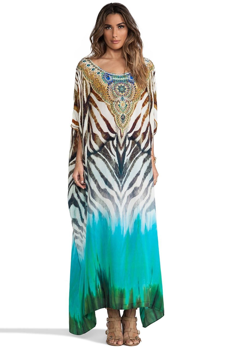 Camilla Round Neck Kaftan in Savanna