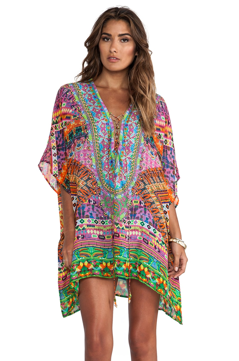 Camilla Short Lace Up Kaftan in Fiesta Chullo