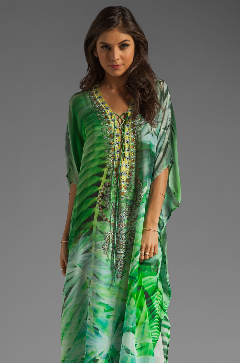 Camilla Long Lace Up Kaftan in Existing Eden