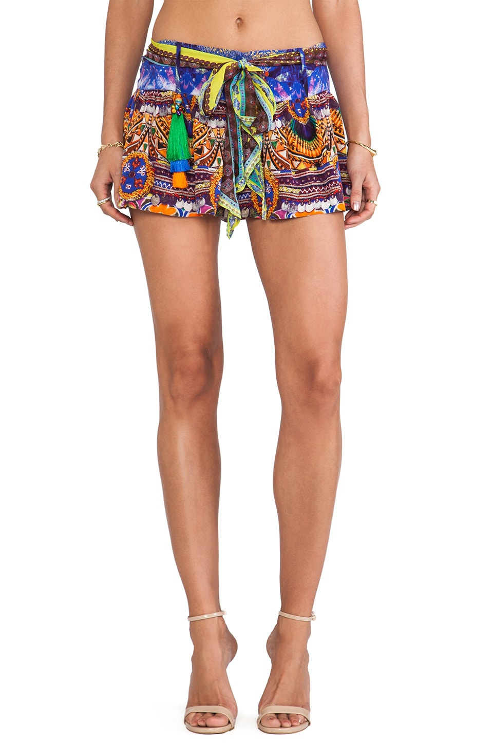 Camilla Zip Front Shorts in Sacred Charm