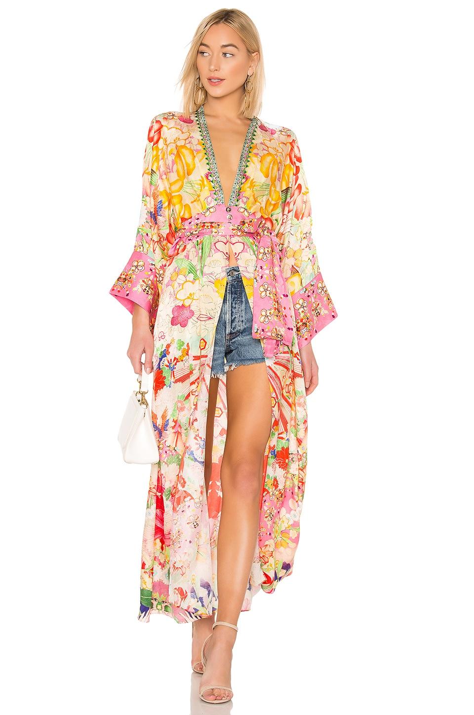 Camilla Elastic Waist Robe in Kimono Kisses