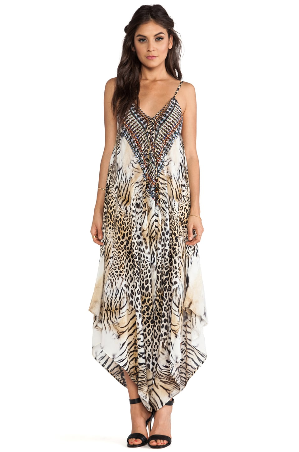 Camilla V Neck Draped Jumpsuit in Jaguar